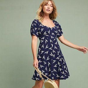 Maeve Anthropologie Fern Ruched Dress Navy Print